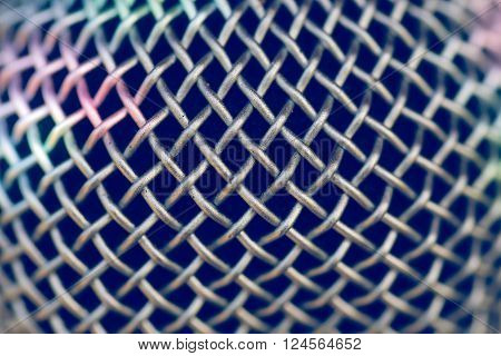 Macro image of metal on a microphone.