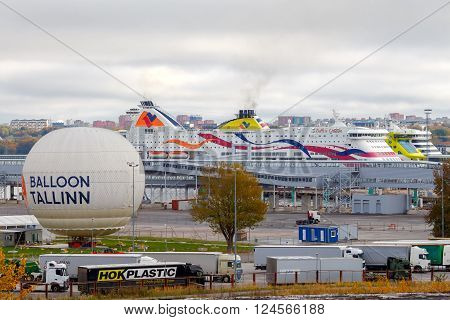 Tallinn, Estonia - December 18, 2015: View of the passenger port, docks and ships in Tallinn. Sea Port of Tallinn is one of the biggest in the Baltic Sea.