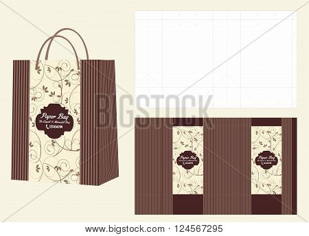 Swirls Beige and Brown Shopping Bag and Die Cut