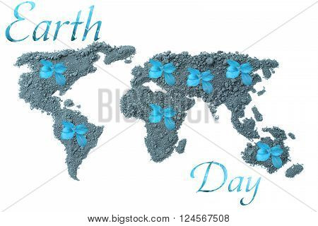 Earth Day. Concept ecology. World map, globe from the soil with green plants around the world isolated on white background in blue tones