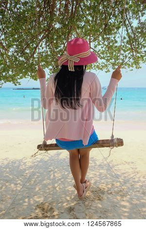 Asian woman relax at beach and sea Pattaya Thailand Asia