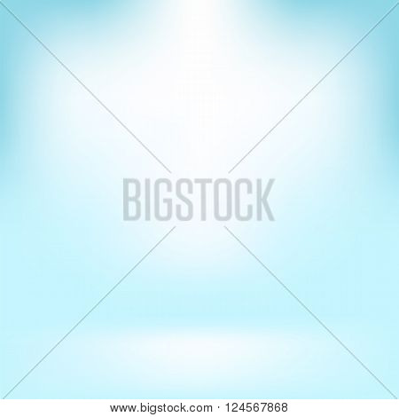 Empty Studio. Light Azure Abstract Background with Radial Gradient Effect. Spotlights Blurred Background. Flat Wall and Floor in Empty Spacious Room Interior for Your Products