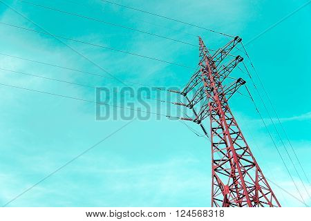 Power tower in the blue sky background