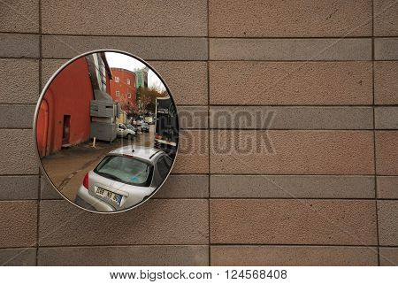 ANKARA/TURKEY-MARCH 30, 2011: Mirror at the car parking wall of Turkish State Opera and Ballet building. March 30, 2011-Ankara/Turkey