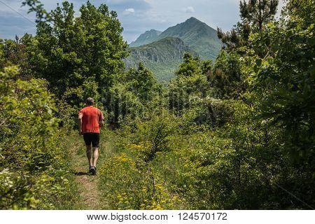 Sport man run in nature