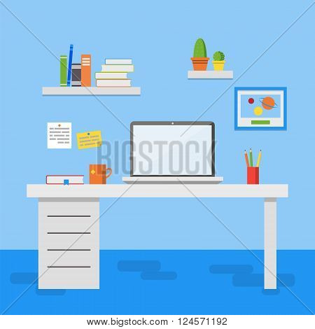 Flat design vector illustration of modern office interior. Creative office workspace with computer notes folders books plants mug. Flat minimalistic style and color