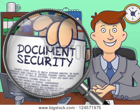 Business Man Holds Out a Paper with Text Document Security. Closeup View through Lens. Colored Modern Line Illustration in Doodle Style.