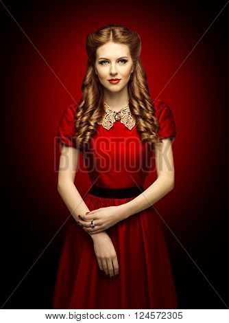 Woman Red Dress Fashion Model in Retro Clothes Lace Collar