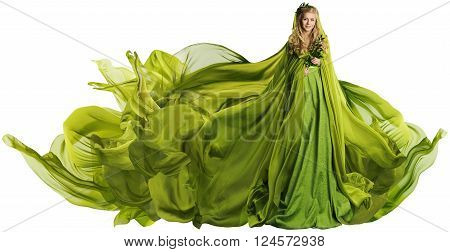 Woman in Flying Dress Fabric Fashion Model in Green Clothes over White