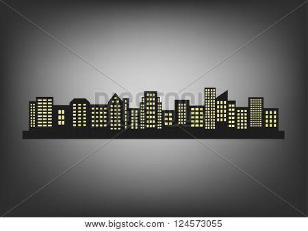 Big city skyline at night, vector icon
