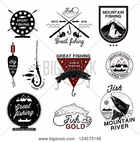 Set of vintage fishing logo, labels, emblems and designed elements. Fishing club, fishing rod, tuna,