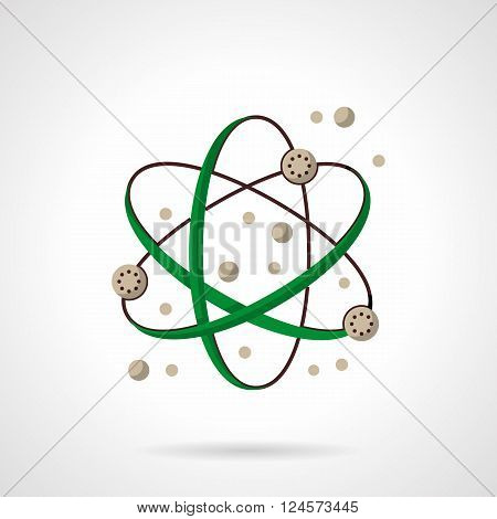 Green color atom orbits. Physic science. Interaction of atomic particles. Flat color style vector icon. Web design element for site, mobile and business.