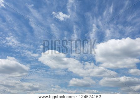 Blue sky with windy patterned clouds during the day without sun
