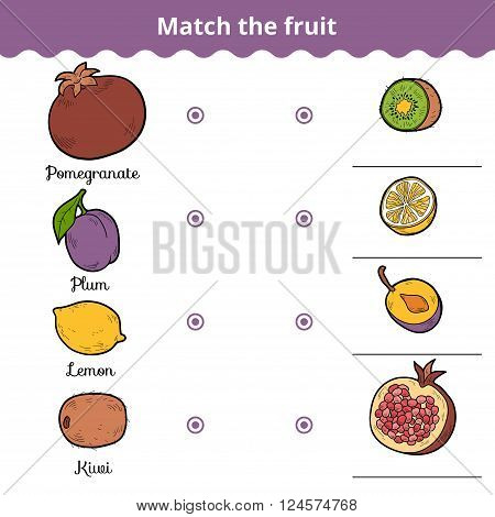 Matching Game For Children. Match The Fruits