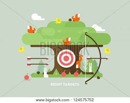 Right targets tree with animal. Business aim, achievement goal, accuracy and perfection. Vector illustration