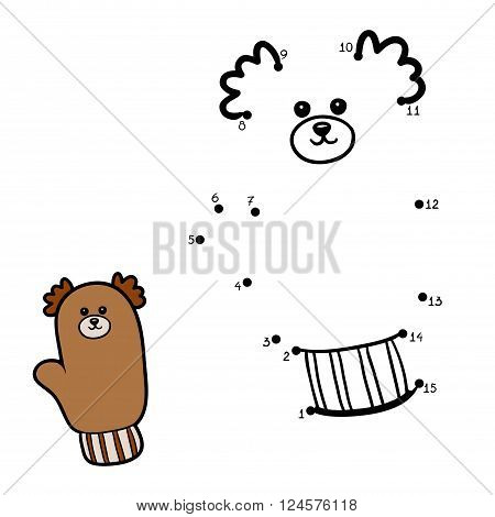 Numbers Game For Children, Mitten With A Bear