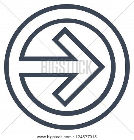 Import vector icon. Style is contour icon symbol, smooth blue color, white background.