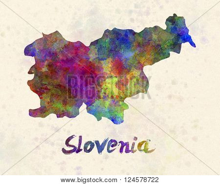Slovenia in artistic abstract warm watercolor background