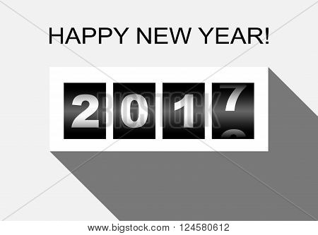 Happy new year mechanic counter style illustration, vector EPS 10.