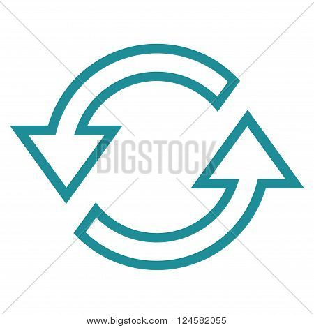 Sync Arrows vector icon. Style is thin line icon symbol, soft blue color, white background.