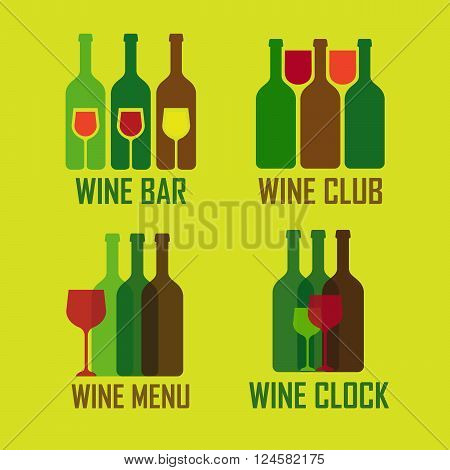 Wine shop logos set. Colofrul icons with vine wine bottles