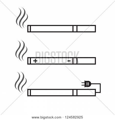 Cigarette and electronic cigarette icons vector. Cigarette nicotine