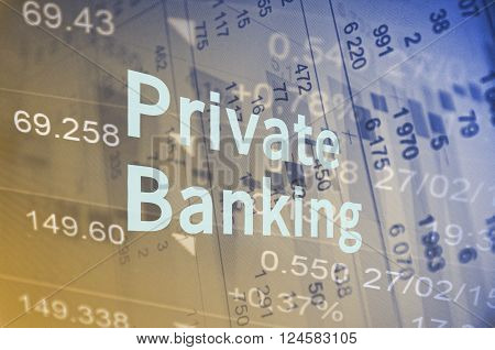 Inscription Private banking. The financial data visible in the background.