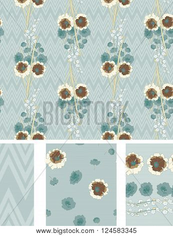 Seamless Flower  Japan Roses  Pattern. Summer background garden. Vintage design for fabric