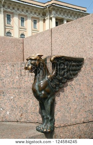 St. Petersburg, Russia - June 28, 2008: Statue Of A Griffin On The University Embankment On Historic