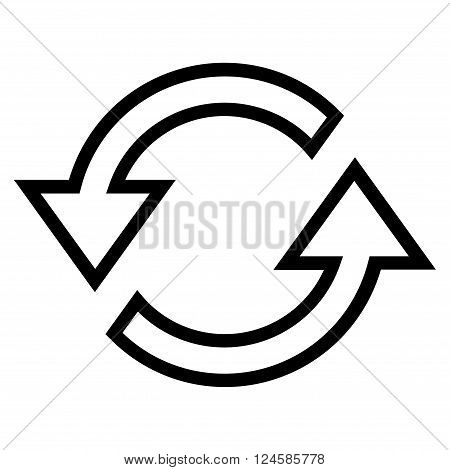 Sync Arrows vector icon. Style is thin line icon symbol, black color, white background.