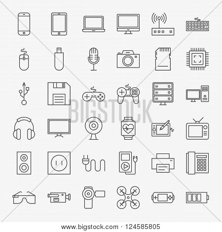 Gadgets And Devices Line Art Design Icons Big Set
