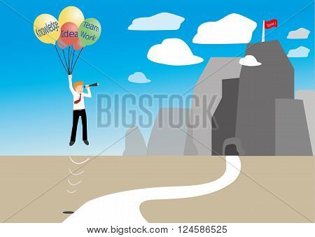 vector of businessman holding floating balloons and looking to achieve the goal target. success concept