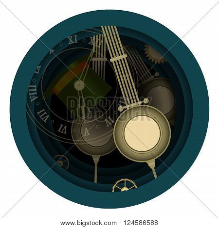 Alice in Wonderland. Mad tea party. Time, Hatter, Five clock. Vector illustration. Background.