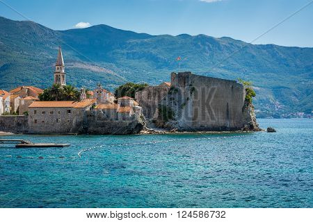 Budva in summer time , Montenegro. Budva is main touristic city in Montenegro. Old city center view.