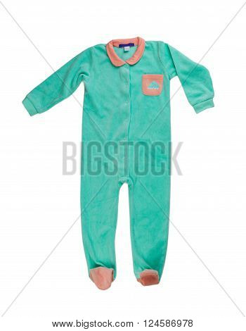 Blue children's fleece jumpsuit. Isolate on white.