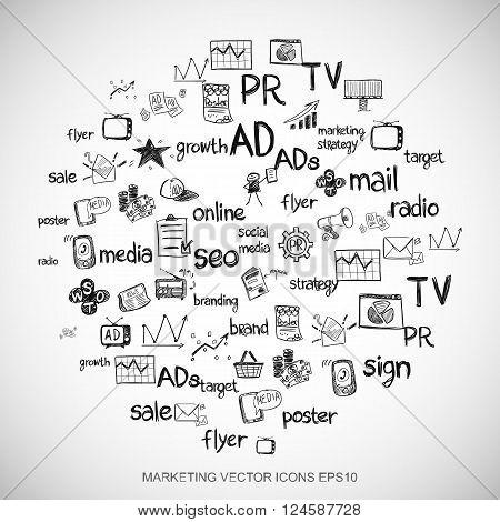 Marketing Black doodles Hand Drawn Marketing Icons set on White. EPS10 vector illustration.