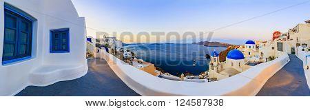 Santorini, Greece - Oia at sunset, panorama