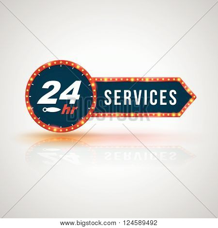 Arrow signboard 24hr Service Icon, Badge, Label or Sticker for Customer Service, Support or CRM Concept Isolated on White Background