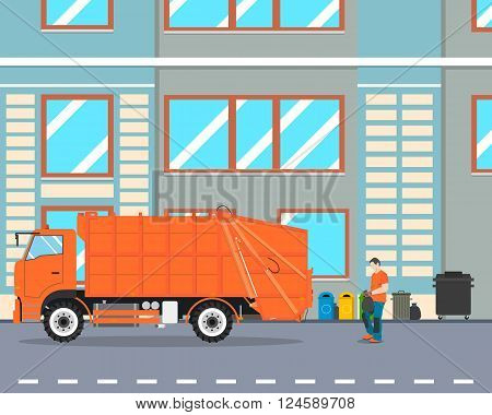 The worker collect garbage in a garbage truck to take him out of the city. Cleaning equipment. Vector illustration