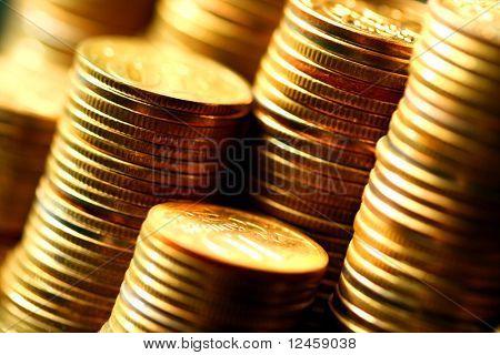 close-up macro de moedas de ouro