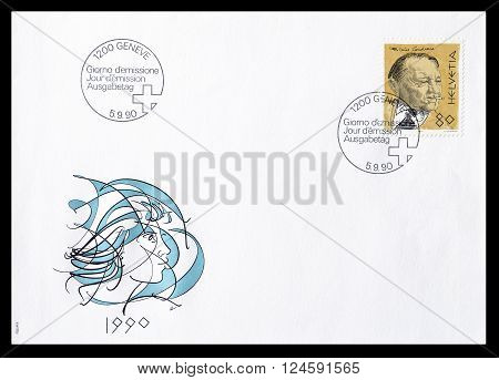 SWITZERLAND - CIRCA 1990 : Cancelled First Day Cover letter printed by Switzerland, that shows Blaise Cendrars.