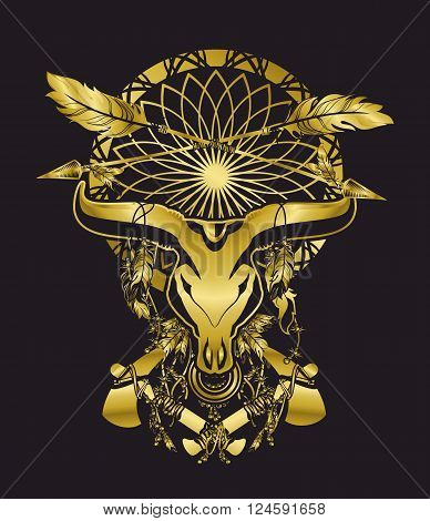 skull of a bull with long horns in the background Dreamcatcher and shamanism attributes in gold color