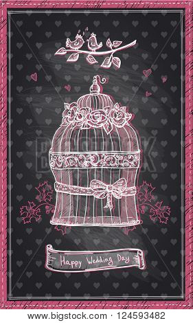 Happy wedding day chalkboard design, hand drawn cute graphic invitation