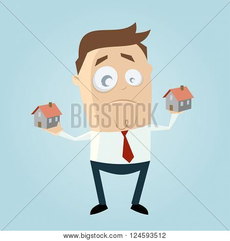 cartoon man comparing houses