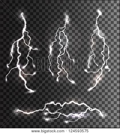 Set of different lightning bolts on a transparent background. Vector.