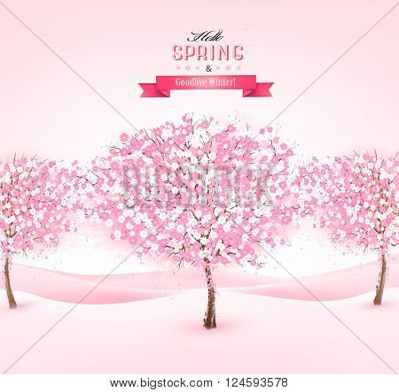 Spring background with cherry blossom trees. Vector.