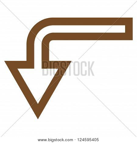 Turn Down vector icon. Style is outline icon symbol, brown color, white background.