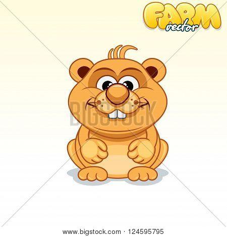 Cute Cartoon Hamster. Funny Vector Animals Series
