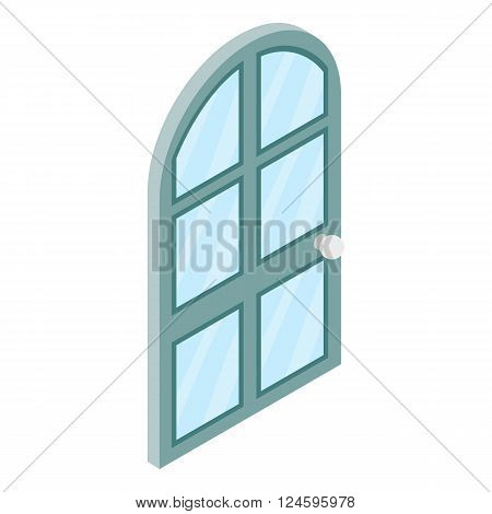 Arched glass door icon in isometric 3d style isolated on white background. Arched glass door onto a terrace or balcony