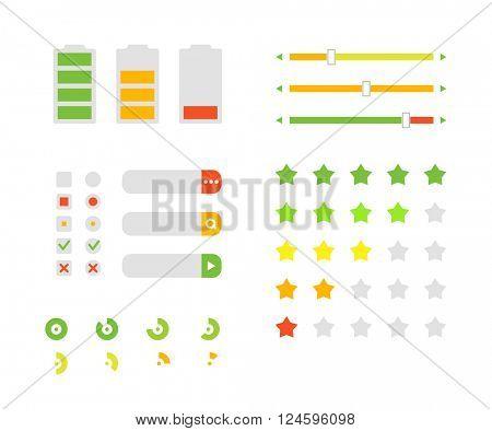 Different interface design elements. Flat design